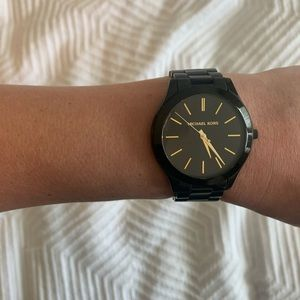 Michael Kors Watch Black and Gold rare